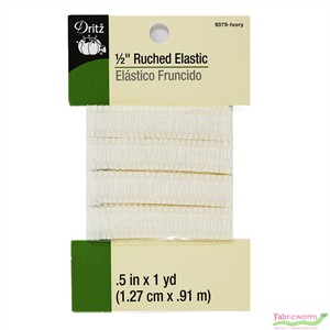 Dritz, 1/2'' Ruched Elastic, Ivory