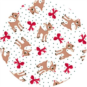 Quilting Treasures, Fun With Rudolph, Rudolph & Bow Toss White