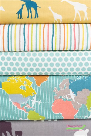 Fabricworm Custom Bundle, ORGANIC, Safari Bound FAT QUARTERS 5 Total
