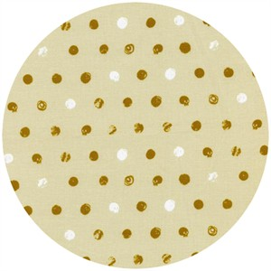 Cotton and Steel, Spellbound, Skull Dot Metallic Ivory