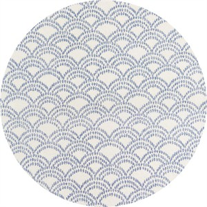 Japanese Import, Indigo Print, Scallop Indigo Cream