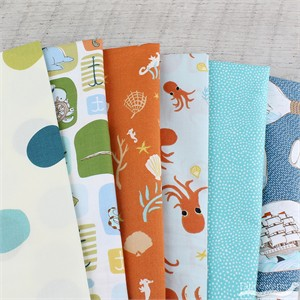 Fabricworm Custom Bundle, Sea Legs in FAT QUARTERS 5 Total