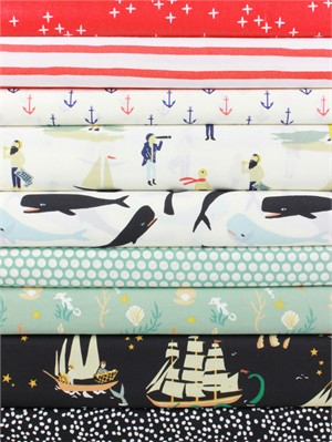 Fabricworm Custom Bundle, ORGANIC, Seaworthy Boy in FAT QUARTERS 9 Total