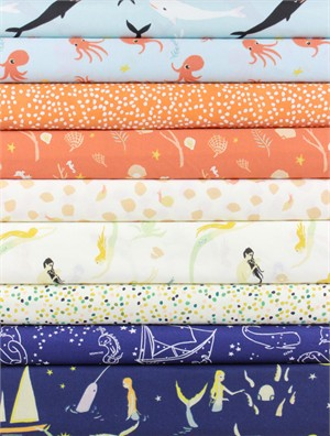 Fabricworm Custom Bundle, ORGANIC, Seaworthy Girl in FAT QUARTERS 9 Total