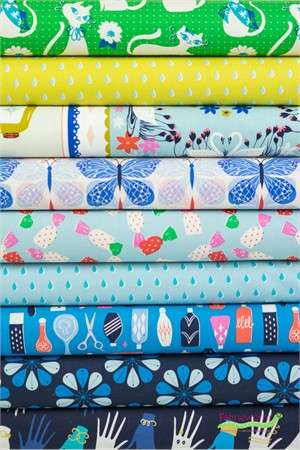 Cotton and Steel, Beauty Shop Shear Delight in FAT QUARTERS 9 Total