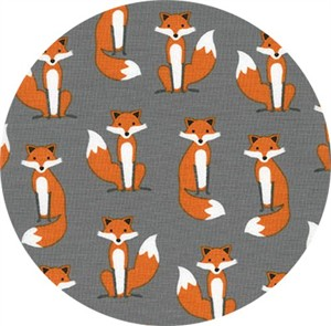 Andie Hanna for Robert Kaufman, Fabulous Foxes, Small Fox Grey