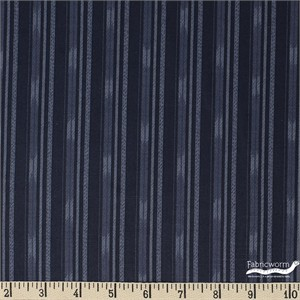 Japanese Import, Faux Woven, Small Stripe Indigo