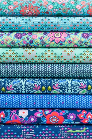 Amy Butler for Free Spirit, Soul Mate, Marine in FAT QUARTERS 9 Total (PRECUT)