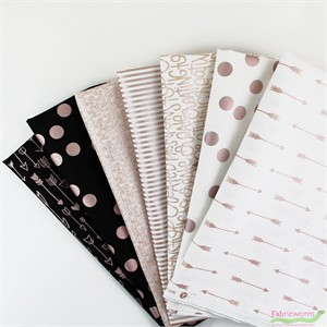 Jen Allyson & Rose Gold Basics For Riley Blake, Sparkle in FAT QUARTERS 5 Total (PRECUT)