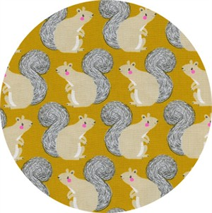 Sarah Watts for Cotton and Steel, Magic Forest, Squirrels Yellow