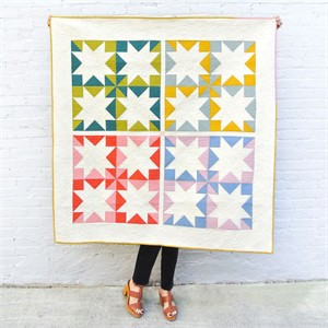 Stars Hollow Quilt Kit Featuring Birch Organic Solids