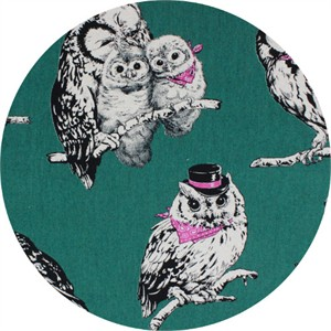 Cosmo Textiles, CANVAS, Stylish Owls Emerald