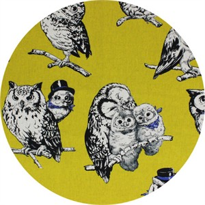 Cosmo Textiles, CANVAS, Stylish Owls Mustard
