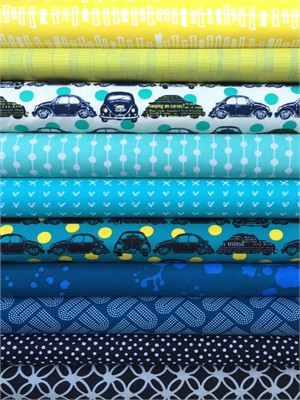 Fabricworm Custom Bundle, Sunday Driver in FAT QUARTERS 9 Total