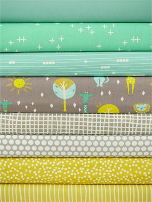 Fabricworm Custom Bundle, ORGANIC, Sunny Day in FAT QUARTERS 8 Total