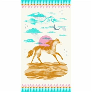 "Sarah Watts for Cotton and Steel, Santa Fe, Sunrise Pink (23"" Panel)"