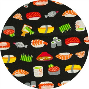 Cosmo Textiles, SHEETING, Sushi Bar Delight Black
