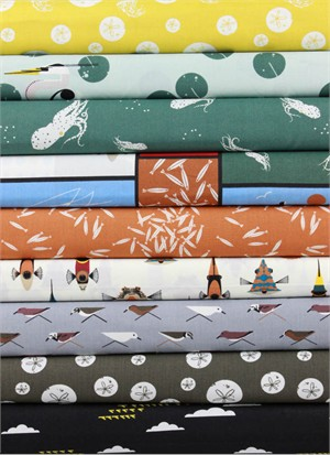 Charley Harper for Birch Organic Fabrics, Maritime, Swimmingly in FAT QUARTERS 9 Total