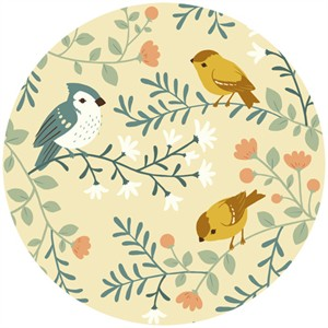 Teagan White for Birch Organic Fabrics, Acorn Trail, KNIT, Birds and Branches Cream