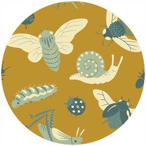 Teagan White for Birch Organic Fabrics, Acorn Trail, CANVAS, Bugs Gold
