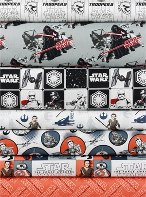 Camelot Fabrics, Star Wars: The Force Awakens,Orange in FAT QUARTERS 7 Total