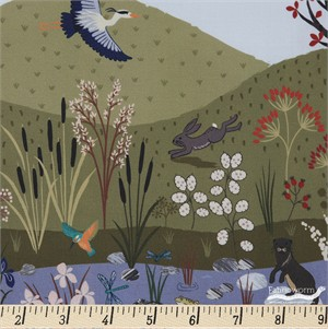 "Lewis & Irene, Water Meadow, The Water Double Border Digital Print (23"" Panel)"