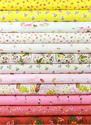 Heather Ross for Windham, Tiger Lily, Flower in FAT QUARTERS 9 Total