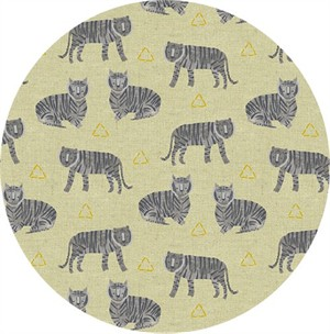 Sarah Golden for Andover, Tiger Plant, LINEN, Tigers Griege Metallic