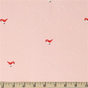 Jenny Ronen for Birch Organic Fabrics, Whistle, Tiny Steps Pink