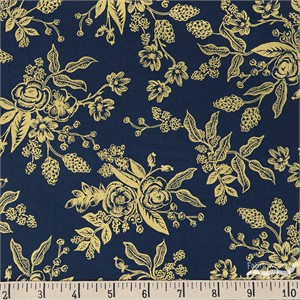 Rifle Paper Co. for Cotton and Steel, English Garden, Tolie Navy Metallic
