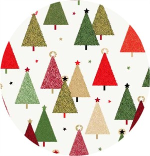 Makower UK, Modern Metallic Christmas, Trees Cream