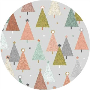 Makower UK, Modern Metallic Christmas, Trees Grey
