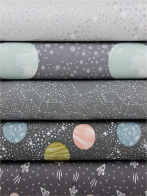 Lewis & Irene, To The Moon And Back, Dark Grey in FAT QUARTERS 5 Total