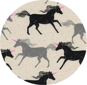 Sarah Watts for Cotton and Steel, Magic Forest, Unicorns Noir