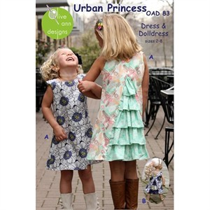 Olive Ann Designs, Sewing Pattern, Urban Princess Dress and Doll Dress