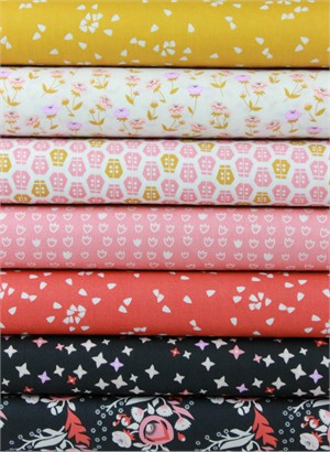 Aneela Hoey for Cloud9, ORGANIC, Vignette, Pink in FAT QUARTERS 7 Total