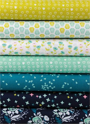 Aneela Hoey for Cloud9, ORGANIC, Vignette, Turquoise in FAT QUARTERS 6 Total