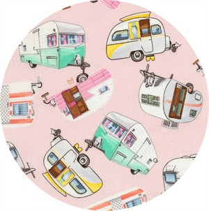 Timeless Treasures, Vintage Campers Pink