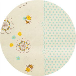 Japanese Import, SHEETING, Vintage Spring Bee Double Border