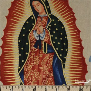 "Alexander Henry, Virgin of Guadalupe Tea Metallic (23"" Panel)"