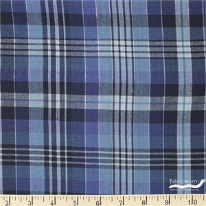 Imported Woven Yarn-Dyes, Indigo Nation Metallic, Large Plaid Blue