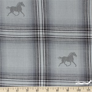 Imported Woven Yarn-Dyes, Mustang, Grey Horse Grey Plaid