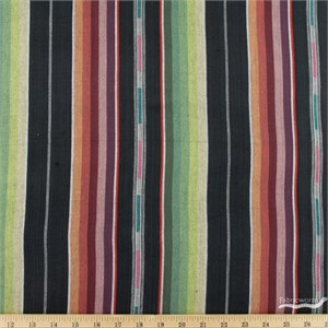 Imported Woven Yarn-Dyes, Flaring Sun, Stripe Black Multi