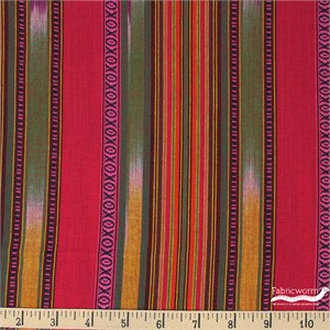 Imported Woven Yarn-Dyes, Arrowhead, Stripe Pink Red