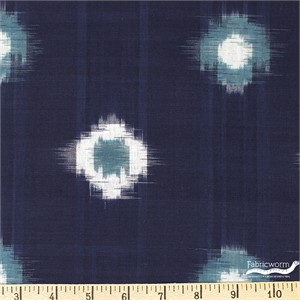 Imported Woven Yarn-Dyes, Dakota, Tie Dye Ikat Blue