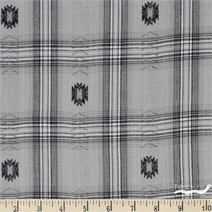 Imported Woven Yarn-Dyes, Trail Ride, Indian Motif Grey