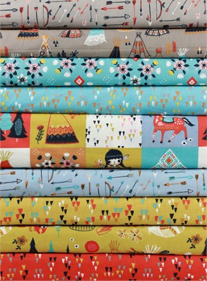Miriam Bos for Birch Organic Fabrics, Wildland, Wildflower Rain in FAT QUARTERS 8 Total