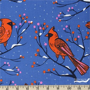 Cotton and Steel, Frost, Winter Cardinals Blue