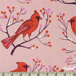 Cotton and Steel, Frost, Winter Cardinals Pink