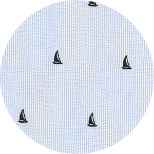 Robert Kaufman, SEERSUCKER, Embroidered Sailboats Blue
